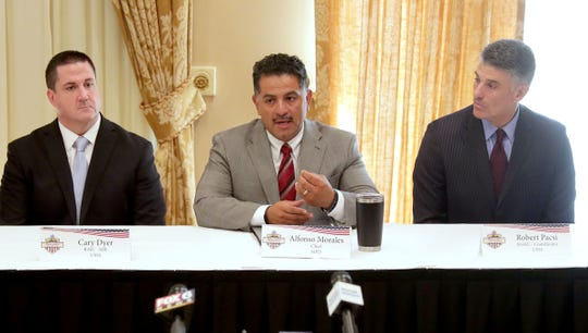 Milwaukee Police Chief, Alfonso Morales, center, seated next to Cary Dyer, left, a secret service agent, and Robert Pasci, the 2020 Democratic National Convention coordinator for the U.S. Secret Service, speaks as members of the 2020 DNC National Special Security Event (NSSE) and Executive Steering Committee (ESC) met at the Pfister Hotel in Milwaukee. The groups met to discuss the overall security planning as well as the local, state and federal law enforcement, public safety, and military partnerships for the 2020 democratic national convention in Milwaukee.