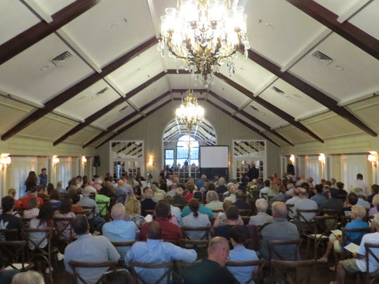 A crowd of 300 packs the third-floor ballroom of the Lake Mohawk Country Club in Sparta for a regional public forum on the growing problem of harmful algae growths on North Jersey lakes. August 20, 2019.