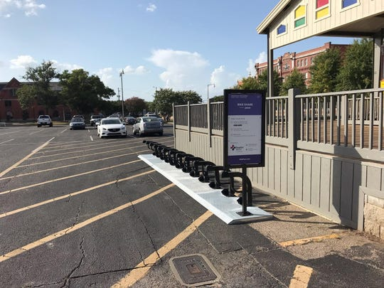 bike share docking station installed in the parking lot of the Renaissance Hotel downtown Wednesday.