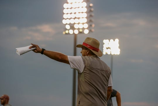 Alabama head coach Nick Saban directs his players during a recent preseason practice under the lights on Aug. 19, 2019 from the team's outdoor practice facility in Tuscaloosa, Ala. (Photo by Kent Gidley/Alabama athletics)