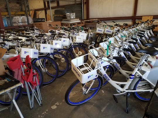 Bikes in storage before launching the share program Friday.