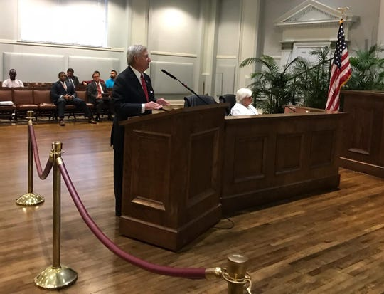 Mayor Todd Strange presented the budget for fiscal year 2020 Tuesday.