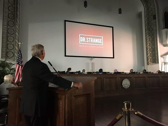 Mayor Todd Strange got a special introduction at a city council meeting Tuesday after he was presented a honorary doctorate from Faulkner University. Strange introduced the proposed budget for fiscal year 2020 later at the meeting.