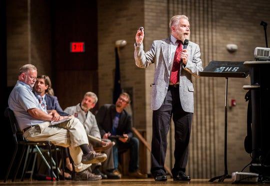 Ball State professor John Pichtel addresses a forum at Central High School on the Waelz project.