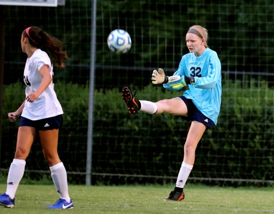 Siegel goalkeeper Madison Hatcher kicks the ball back in play during a recent match. Hatcher kept a clean sheet in goal as the Lady Stars upset Stewarts Creek 1-0 Tuesday.