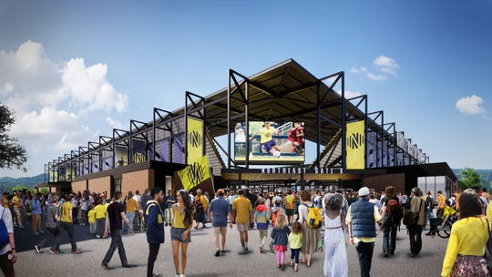 Nashville SC stadium renderings show the northeast main entry gate.