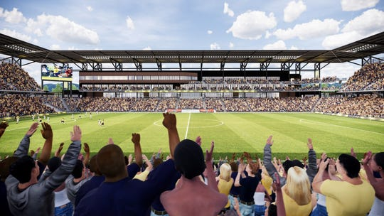 Nashville SC stadium renderings show the interior bowl, looking west.