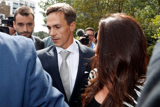 Danish golfer and Ryder Cup winner Thorbjorn Olesen, leaves Uxbridge Magistrates court in London, Wednesday, Aug. 21, 2019. Olesen has pleaded not guilty to charges relating to an alleged sexual assault, being drunk on an aircraft and common assault, after he was arrested in July 2019, on flying into London's Heathrow airport from Nashville, USA. (AP Photo/Alastair Grant)