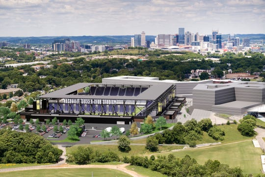 Nashville SC stadium renderings show the south day view.