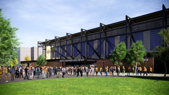 Nashville SC stadium renderings show the north supporters entry gate.