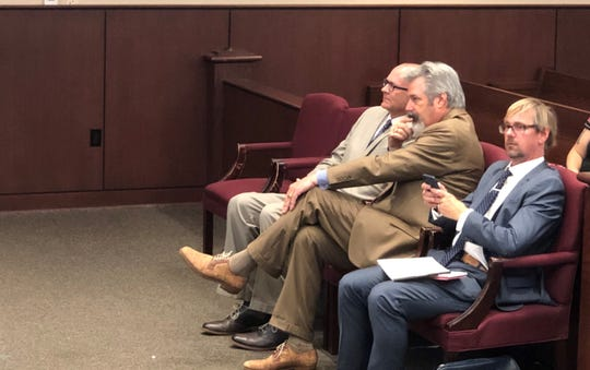 Robert Ring (far left) appeared in court Wednesday, Aug. 21, 2019.