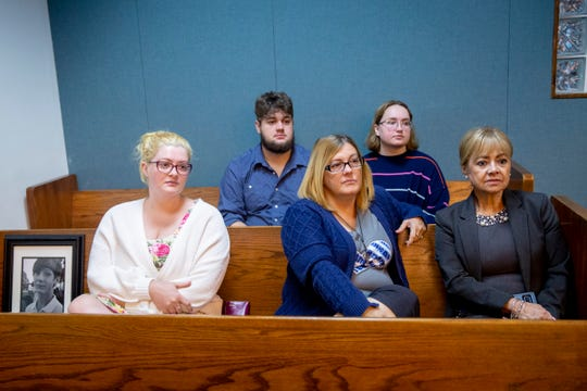 The family of 13-year-old Shayden Colvin, who was killed in a hit-and-run in 2017, from left to right, Miranda Jenner, Parker Colvin, Niki Colvin, Hanna Thomas, and victim advocate Betty McGuire listen during a pre-trial hearing for Pedro Silva-Diaz at the Collier County Courthouse in Naples on Wednesday, August 21, 2019.