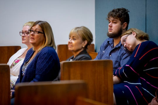 The family of 13-year-old Shayden Colvin, who was killed in a hit-and-run in 2017, from left to right, Miranda Jenner, Niki Colvin, victim advocate Betty McGuire, Parker Colvin, and Hanna Thomas listen during a pre-trial hearing for Pedro Silva-Diaz at the Collier County Courthouse in Naples on Wednesday, August 21, 2019.