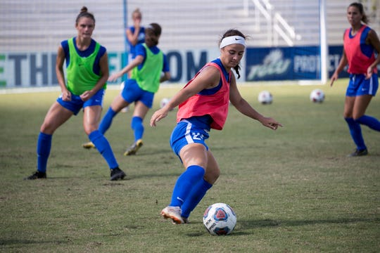 Alyssa Abbondandolo practices with her FGCU soccer teammates on Wednesday, August 21, 2019. Abbondandolo is a graduate of Oasis High School in Cape Coral.