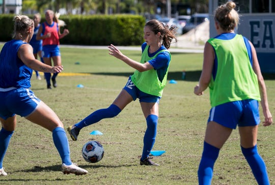 Zoey Spitzer practices with her FGCU soccer teammates on Wednesday, August 21, 2019. Spitzer is a graduate of Gulf Coast High School.