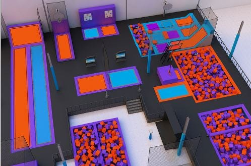 The layout for the new Altitude Trampoline Park at Indian Mound Mall.