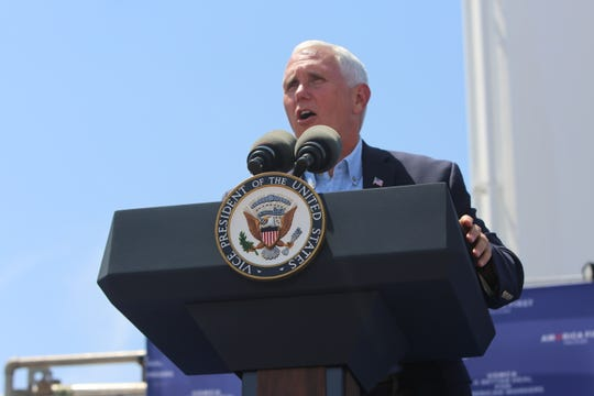 Vice President Mike Pence speaks Aug. 21 in Artesia, N.M.