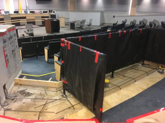 A new section for the media is under construction in the northeast section of council chambers at City Hall.