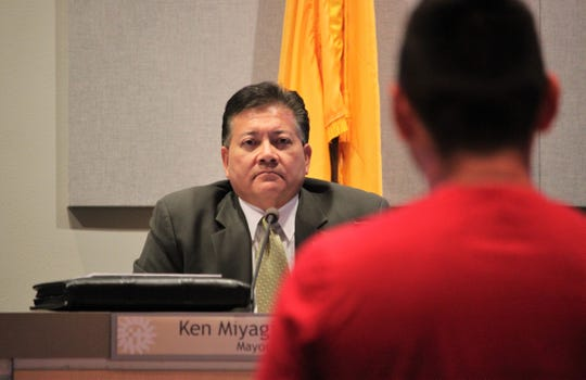 Mayor Ken Miyagishima listens to public comment on a proposed glyphosate ban on city property during  the Las Cruces City Council meeting on Monday, August 19, 2019.