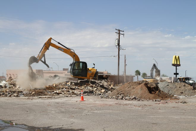 The former Pizza Mill restaurant location is under construction to make way for a new gas station.