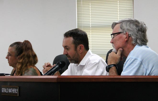 The Otero County Commission held a special meeting Aug. 21 where they discussed if the county should be the fiscal agent for the Chaparral Library Feasibility Study. From left: Otero County Commissioner Lori Bies, Otero County Commission Chairman Couy Griffin and Otero County Commission Vice Chairman Gerald Matherly.