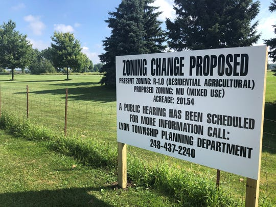 A public hearing on a proposed master plan amendment, rezoning and special land use for a 477-unit housing development at what is currently the Coyote Golf Course in Lyon Township is planned for Aug. 26, 2019.