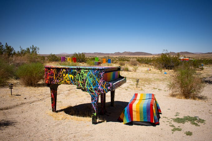 The piano and landscape at Rancho De Colores in Joshua Tree, Calif. on Aug. 20, 2019.