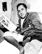 Lt. Cmdr. Everett Alvarez Jr. rests in his room at the Clark Air Base hospital, near Angeles, the Philippines, before leaving for the United States, Feb. 16, 1973. Alvarez, the first American pilot shot down over North Vietnam in 1964, came home to a hero's welcome at Travis Air Base in California.