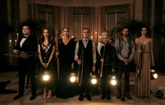 """Meet the family in """"Ready or Not"""":   Fitch (Kristian Bruun, from left), Emilie (Melanie Scrofano), Becky (Andie MacDowell), Tony (Henry Czerny),  Helene (Nicky Guadagni), Daniel (Adam  Brody) and Charity (Elyse Levesque)."""