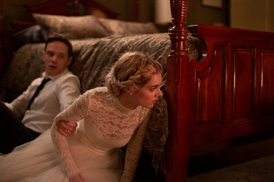 """Grace (Samara Weaving) is discovering what marriage to Alex (Mark O'Brien) means in """"Ready or Not."""""""