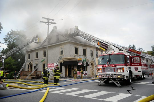 Firefighters tackle a blaze in Annville Wednesday.