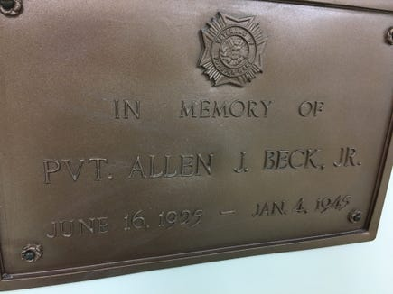 Sometimes, we note the name of our heroes on the side of a building, but we don't know their story. The historical society's annual picnic took place at the Pvt. Allen J. Beck Jr. VFW Post 5265. Spring Grove's Pvt. Beck was killed in the Battle of the Bulge, fighting in Belgium, in World War II.