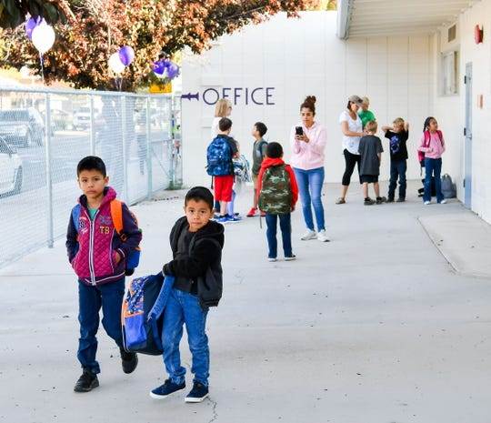 Students walk onto campus for the first day of school at Yerington Elementary.