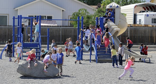 Cottonwood Elementary School students play during recess.