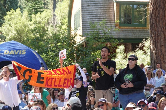 Protesters disrupted speeches at the 23rd Tahoe Summit on August 20, 2019.