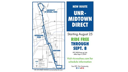 A map of the UNR-Midtown DIRECT bus route that will be running through early 2021.