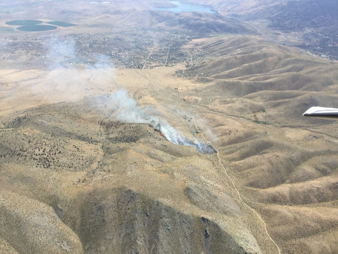 An aerial view of the Canyon Fire near Topaz Lake on Aug 21, 2019.