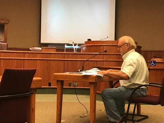 Redding resident Russell Hunt argues his case in front the Administrative Hearings Board on Wednesday, Aug. 21, 2019.