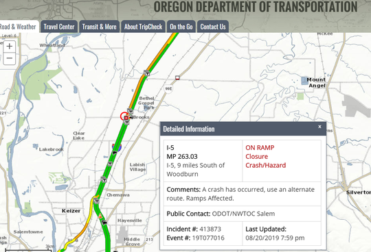 The on ramp at Interstate 5 at the Brooklake Road interchange at milepost 263 is closed due to rolled over hay truck.