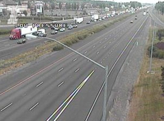 Southbound I-5 was backed up near Woodburn Wednesday morning following paving delays.