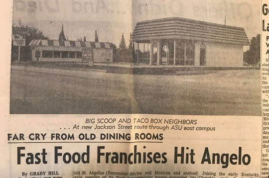 A new Taco Box restaurant, right, and Big Scoop Ice Cream can be seen on the southeast corner of Avenue N and Jackson Street in this 1969 photograph which accompanied an article about fast food franchises in San Angelo. Both buildings are still standing.