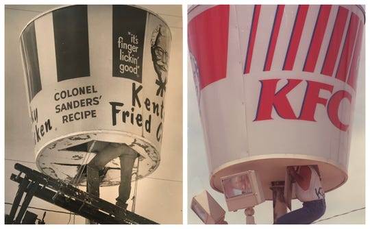 Maintenance on KFC's iconic bucket signs created a few photo opportunities in San Angelo over the years.