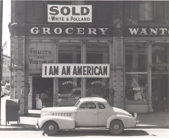 The Masuda family proclaimed they were American as they were forced to sell the Wanto Grocery in Oakland, California, before they were incarcerated in August 1942.