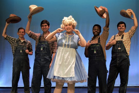 June (Collen Towey), with her Farm Boys (left to right, Ashton Boddye, Matthew Seidenfeld, Cailel Colson and Tristan Ferrara.