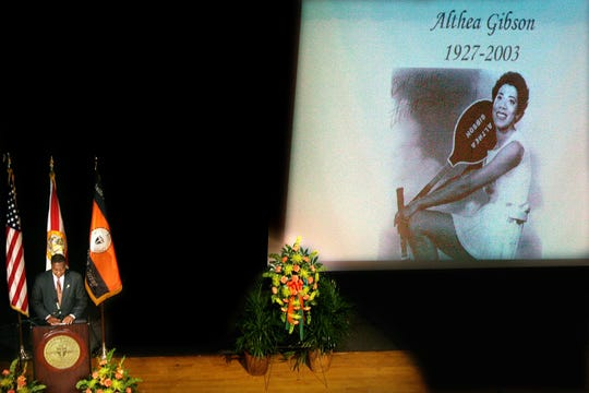 FAMU President Fred Gainous delivered a stirring eulogy to former Rattler and tennis champion Althea Gibson at Lee Hall folowing her death on Sept. 28, 2003. She was 76.