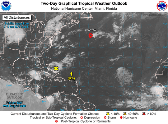 Area of low pressure over Bahamas has 20 percent chance for development over the next five days.