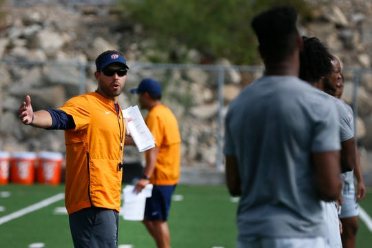Coach Rebstock during a walk through practice around 9:30 a.m. Thursday, Aug. 15, at the University of Texas El Paso. Practice usually lasts about two hours.