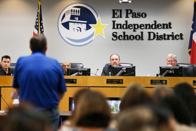 EPISD Superintendent Juan Cabrera listens to Ross Moore, president of the El Paso chapter of the American Federation of Teachers, speak at the board meeting Tuesday, Aug. 20, 2019, at EPISD Boeing Education Center in El Paso. One of the items on the agenda was the reconsideration of closing Beall and Burleson Elementary schools.