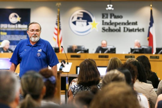 Ross Moore, president of the El Paso chapter of the American Federation of Teachers, speaks at the EPISD board meeting Tuesday, Aug. 20, at EPISD Boeing Education Center in El Paso. One of the items on the agenda was the reconsideration of closing Beall and Burleson Elementary Schools.