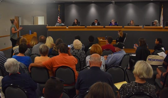 People pack a board room for a Conejo Valley Unified School District Board of Education discussion involving sexual health education.